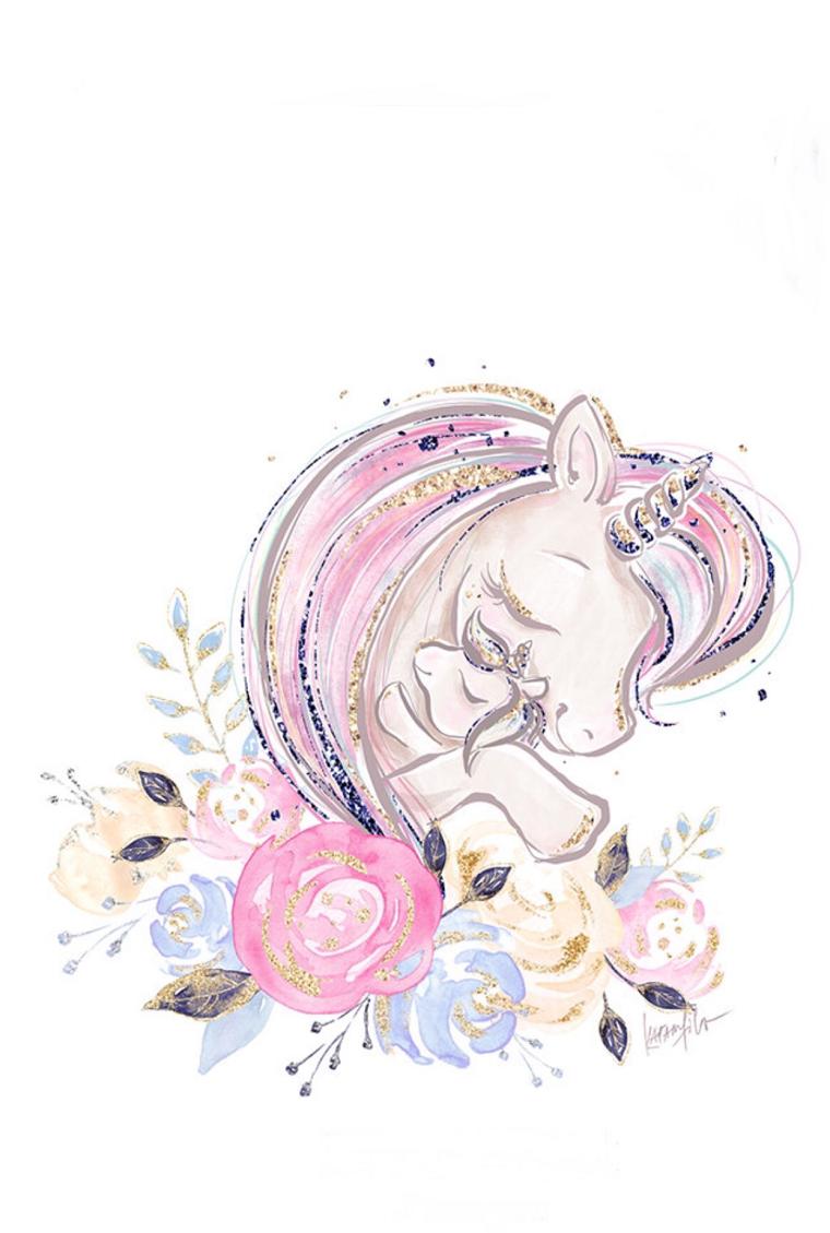 Unicorno disegno, disegno di un unicorno con glitter, piccolo unicorno con fiori