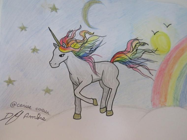 Disegno di un unicorno a matita, disegno di un arcobaleno, schizzo con le matite
