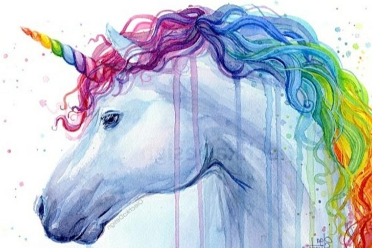 Unicorni da disegnare, disegno con la tecnica ad acquarello, disegno di un unicorno