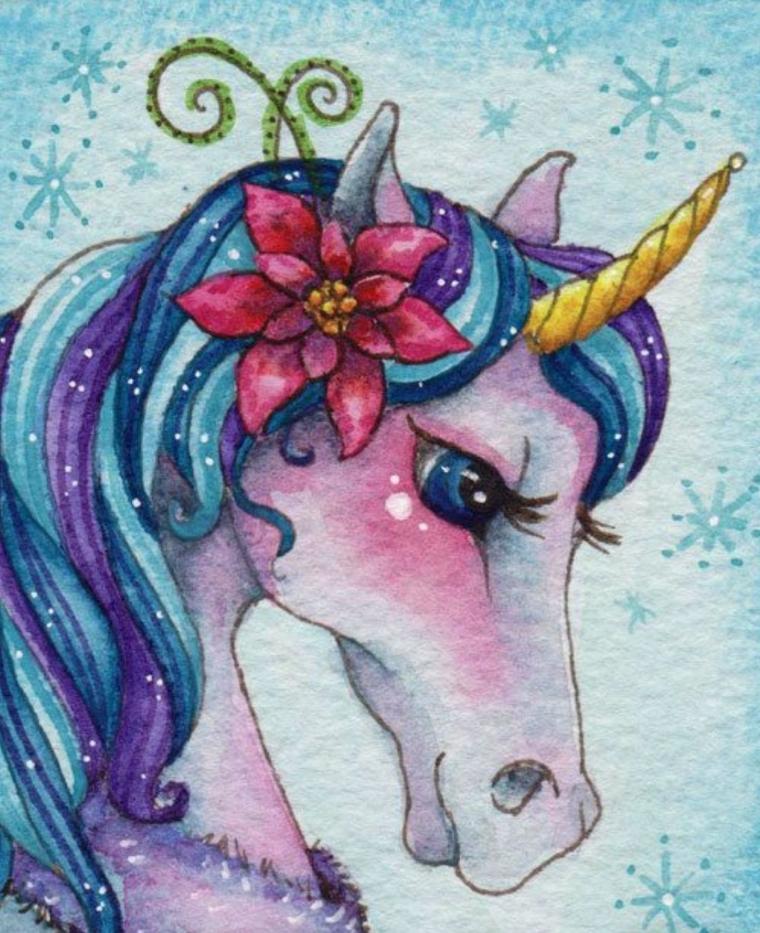 Disegno di un unicorno con gli acquarelli, schizzo colorato di un unicorno, sfondo immagine colore blu