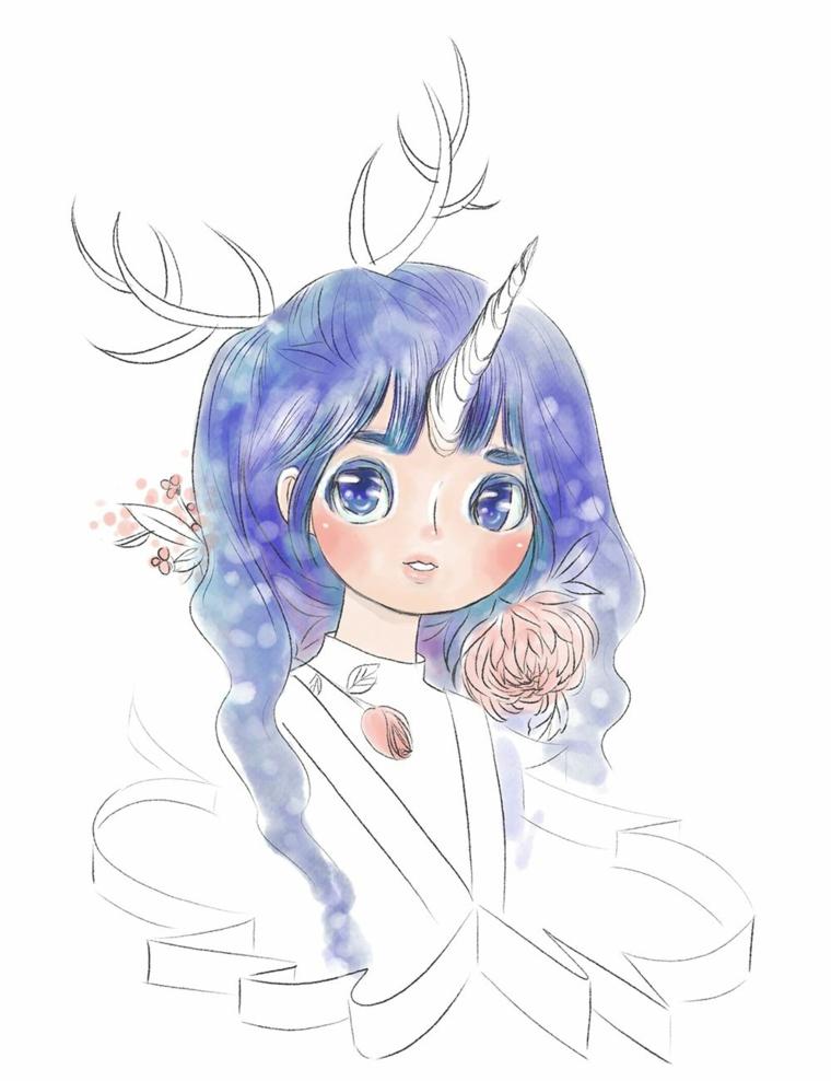 Schizzo di una ragazza unicorno, unicorno disegno, schizzo ragazza con capelli blu