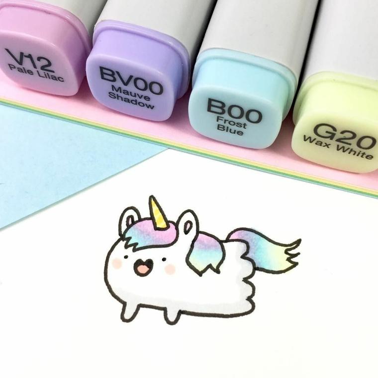 Come si disegna un unciorno, pennarelli colorati, disegno di un criceto unicorno kawaii