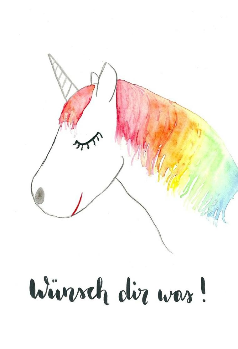 Disegno di un unicorno, schizzo colorato con gli acquarelli, disegno unicorno con criniera colorata