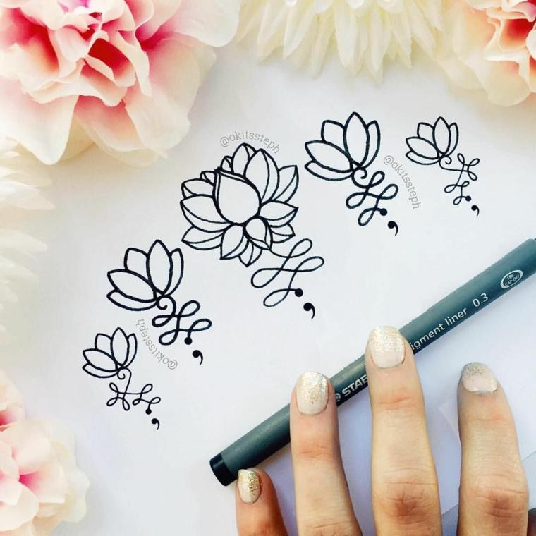 Disegno con penna a sfera, disegni di tatoo fiore di loto, fiori con petali colorati di rosa
