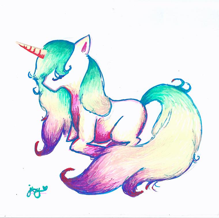 Schizzo di un unicorno con i colori pastelli, come disegnare un unicorno, disegno di un unicorno