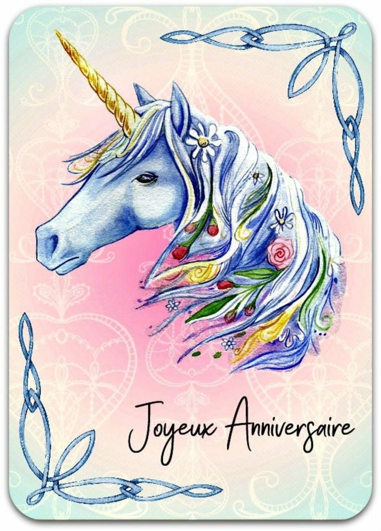 Disegno con le matite colorate, schizzo a matita di un unicorno, immagine con bordi decorati
