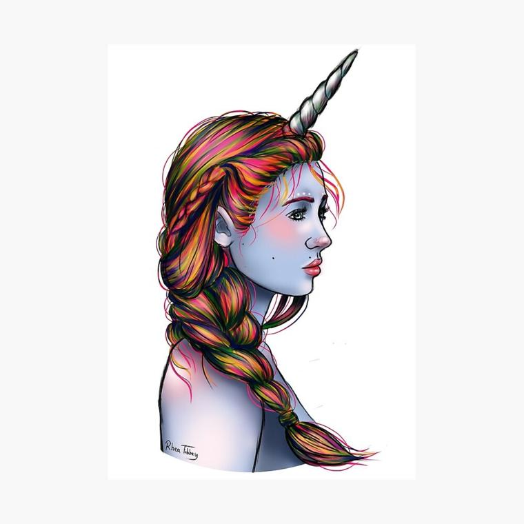 Immagini unicorni, ragazza elfo unicorno, schizzo con i pennarelli colorati