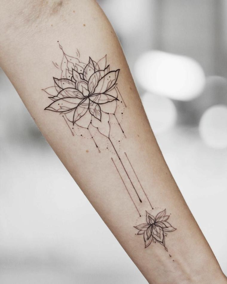 Fiore di loto tattoo, tatuaggio simboli mandala, tatuaggio sull'avambraccio di una donna