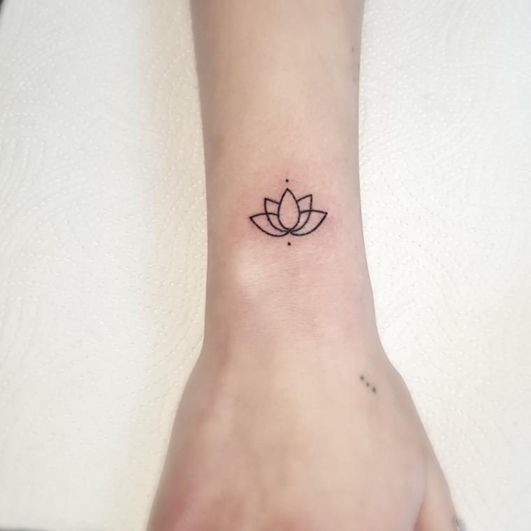 Tatuaggio sul polso della mano, simboli di rinascita e forza, disegno fiore di loto con puntini
