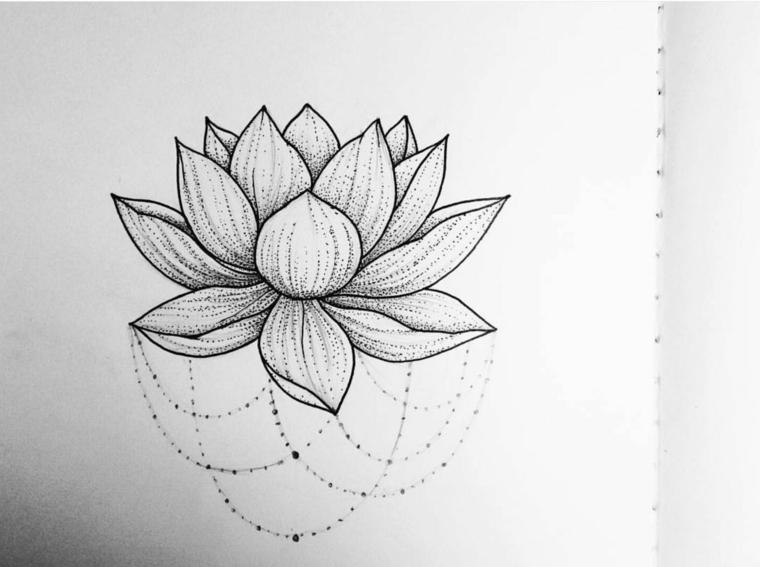 Disegno su un foglio, disegno di un fiore di loto, schizzo tattoo con tratteggio e puntini