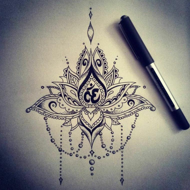 Disegno con penna a sfera nera, disegno di un fiore di loto, tatuaggio con simboli del mandala