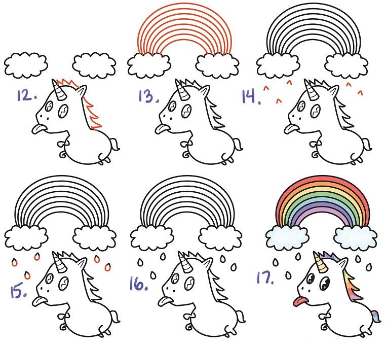 Come disegnare un unicorno, tutorial con passaggi, disegno di unicorno e arcobaleno