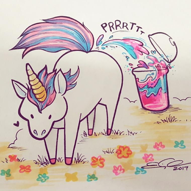 Disegni facili da colorare, disegno di un unicorno, criniera e coda unicorno colorati