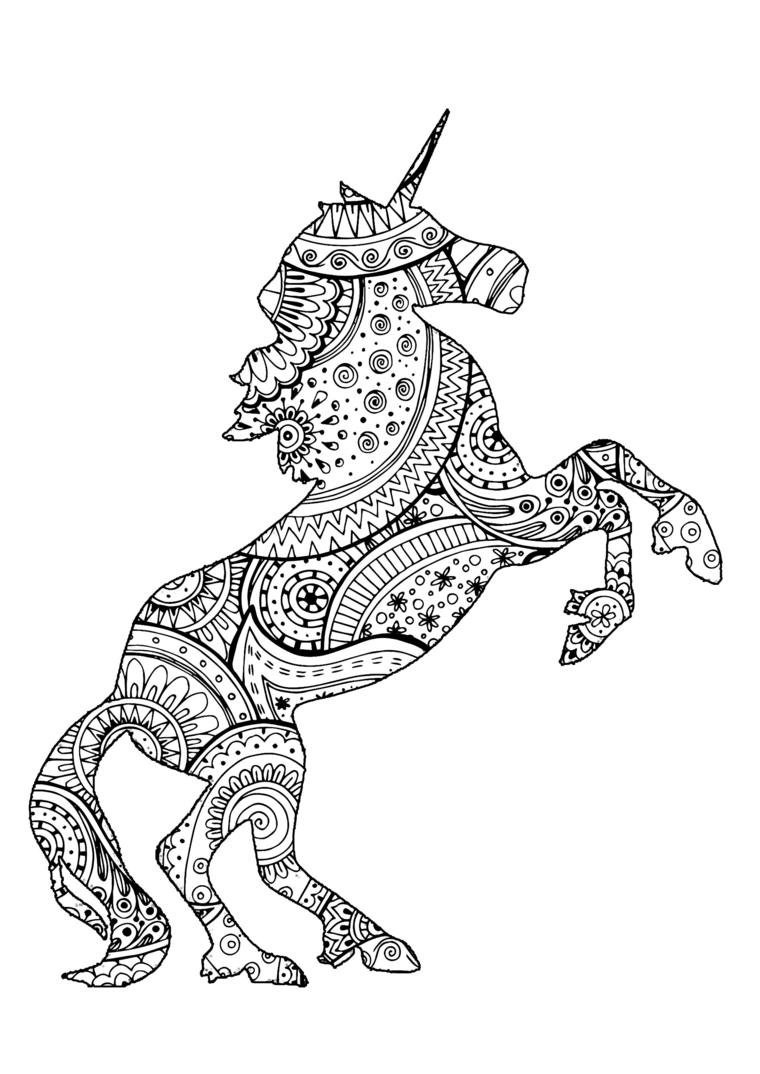 Unicorni da disegnare con motivi mandala, schizzo da colorare mandala, disegno di un unicorno