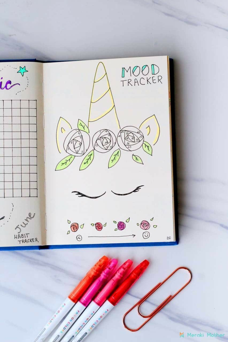 Disegni su un diario di scuola, disegno di una maschera unicorno, immagini da disegnare facili