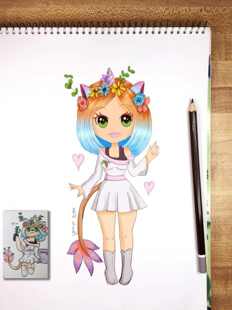 Quaderno ad anelli e matita, disegno di una bimba unicorno, come disegnar un unicorno