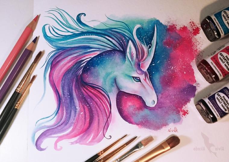 Colorare con pennelli e tempere, disegno di un unicorno stellare, disegni facili da colorare