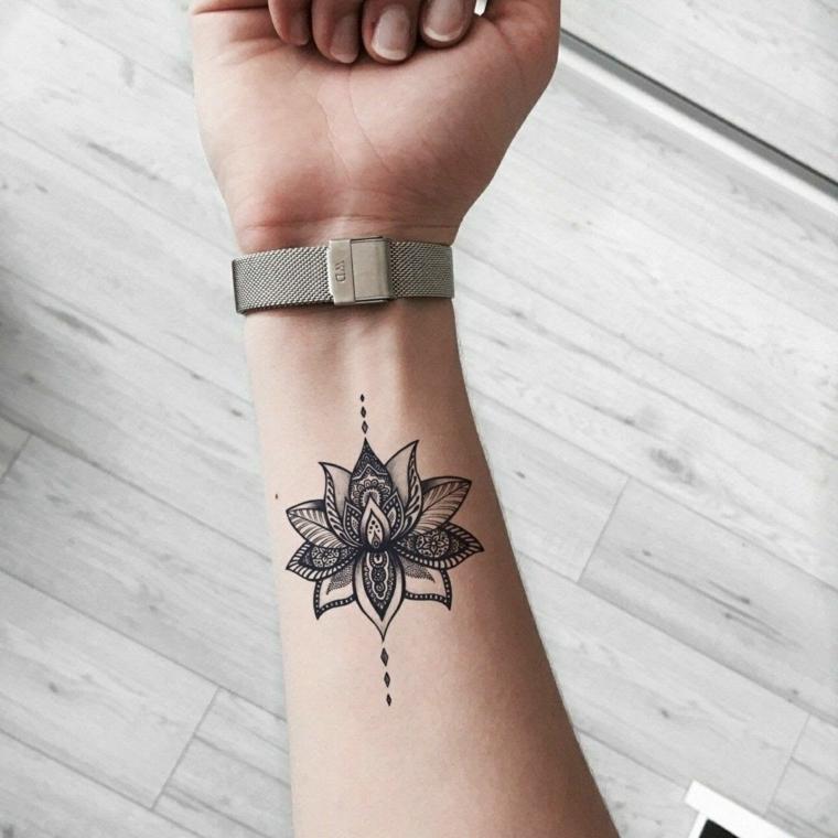 Simboli di rinascita e forza, disegno tatuaggio mandala, disegno tattoo con un fiore di loto sul polso della mano