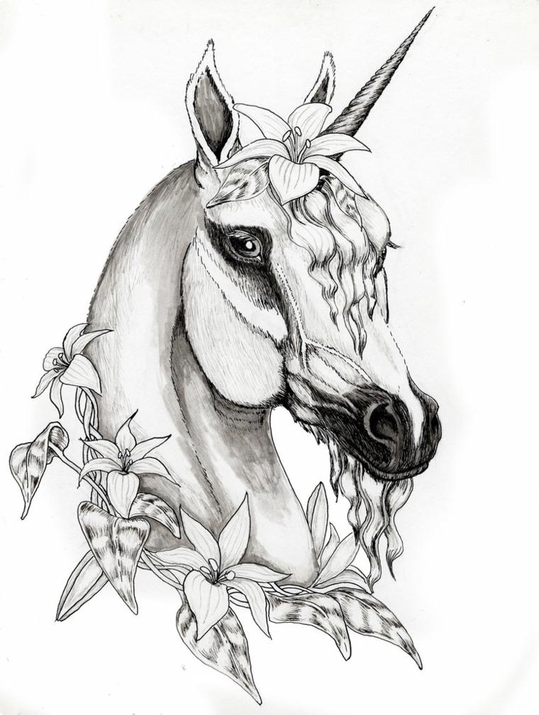 Disegno Pegasus, cavallo con corno, disegno a matita di fiori, immagini unicorni