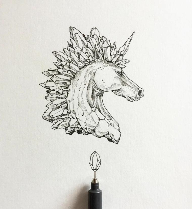 Penna nera a sfera, unicorno disegno, criniera con disegno di cristalli