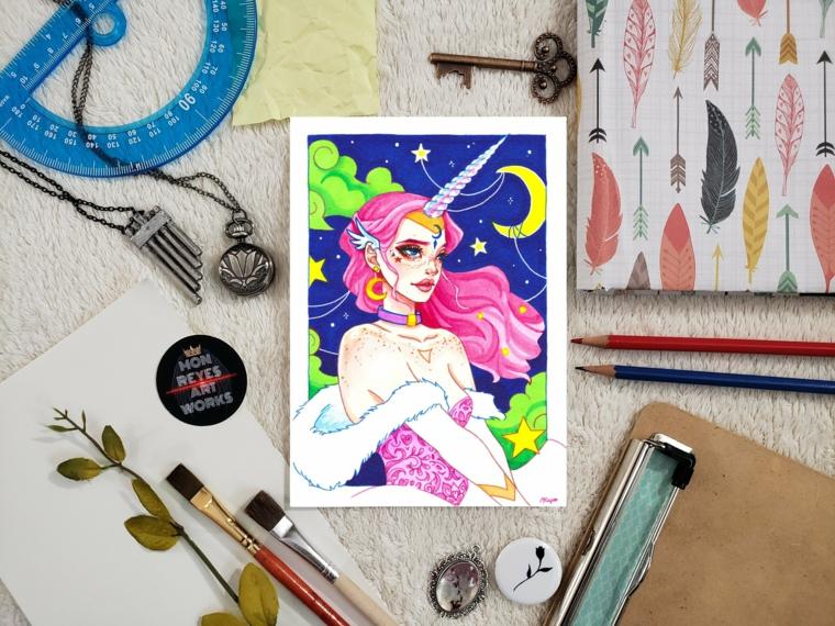 Disegno colorato di una ragazza unicorno, pennelli e foglie verdi, disegni facili da colorare