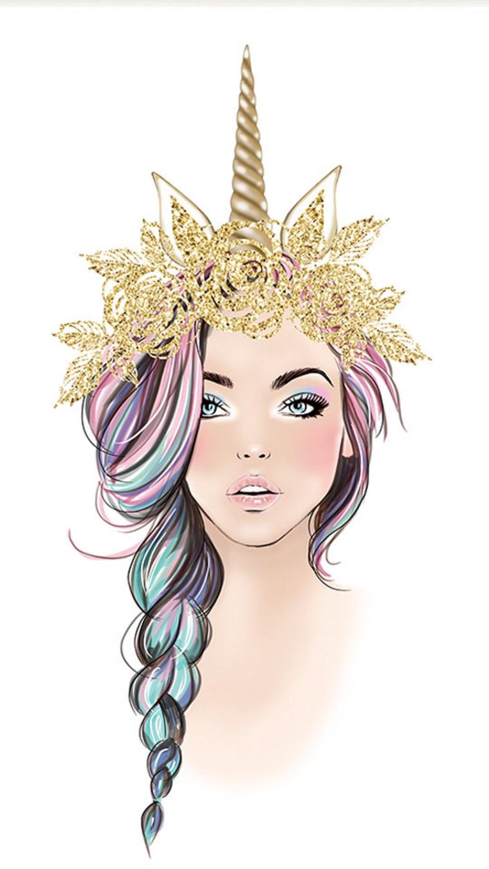 Disegni facili da colorare, schizzo di una ragazza con cerchietto unicorno, colore oro glitter