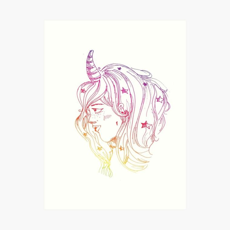 Disegno di una ragazza unciorno, capelli mossi con disegno stelle, come disegnare un unicorno