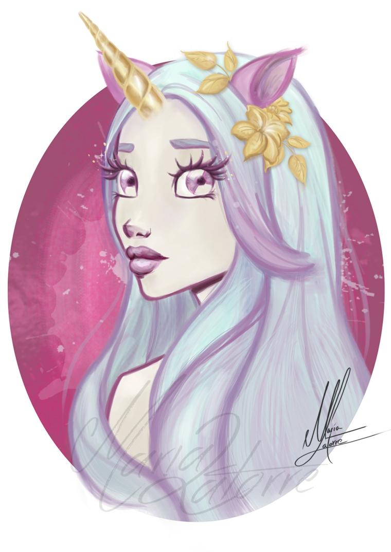 Come disegnare un unicorno, ragazza elfo unicorno, schizzo realizzato con le matite colorate