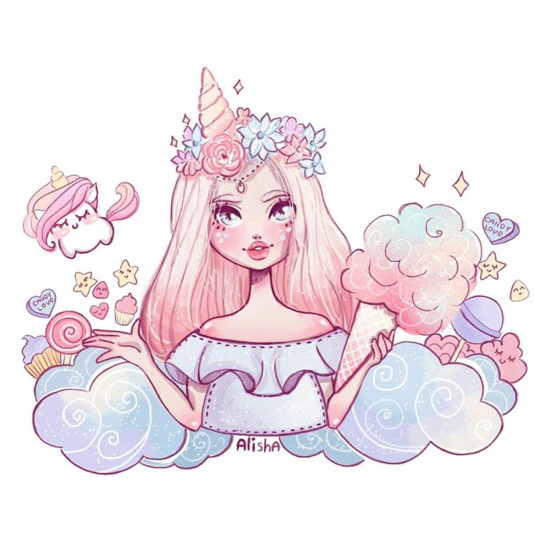 Disegno di una ragazza con cerchietto di unicorno, disegno kawaii, unicorno disegno
