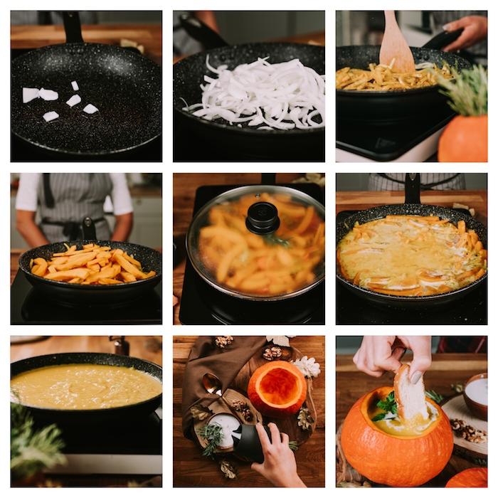 Tutorial per fare la vellutata, zuppe dietetiche, step con gli ingredienti, zucca intagliata