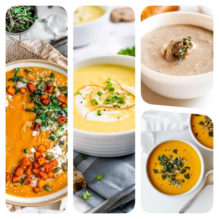 Come si fa la vellutata di zucca, collage di foto, minestra con i funghi, zuppa frullata di zucca