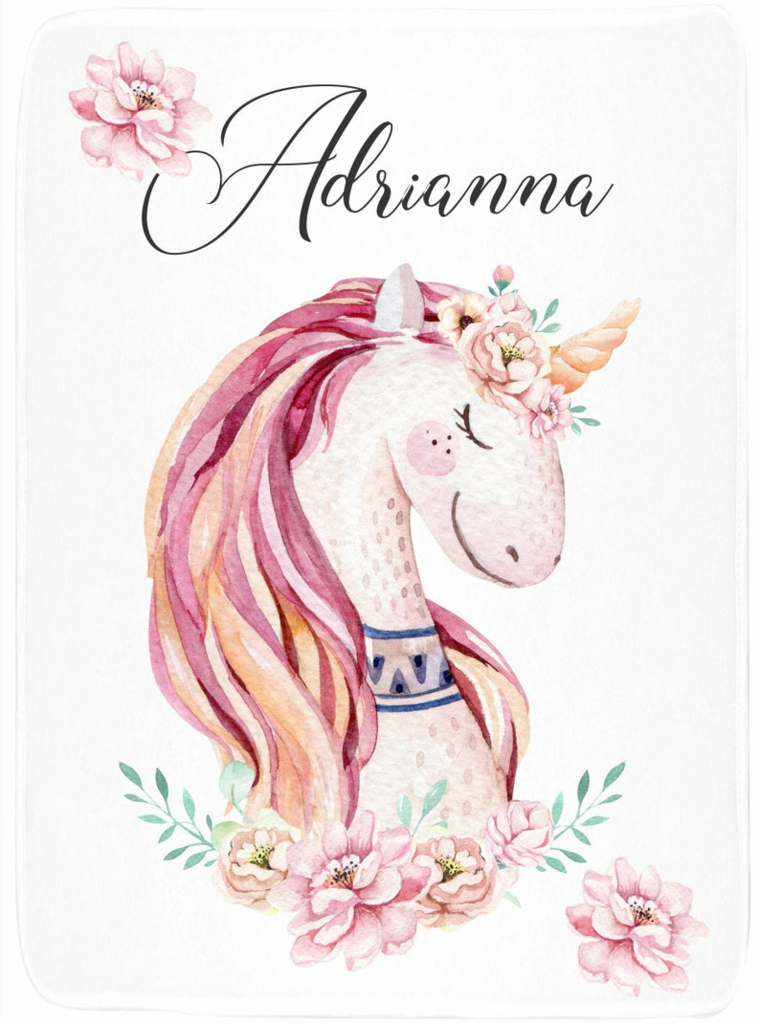 Scritta nome Adrianna, disegno realizzato con gli acquarelli, immagini unicorni