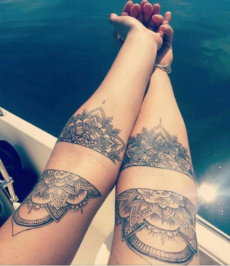 Fiore di loto tattoo, tatuaggio donna sull'avambraccio, disegni mandala sulle braccia