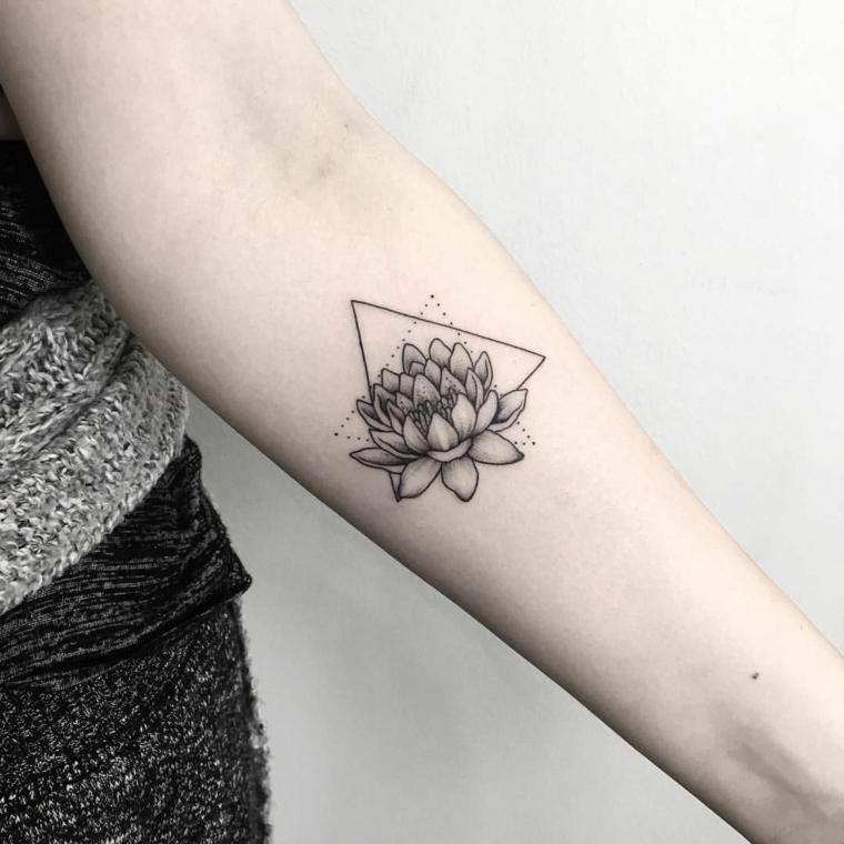 Fiore di loto mandala, tatuaggio sull'avambraccio di una donna, triangoli con tratteggio