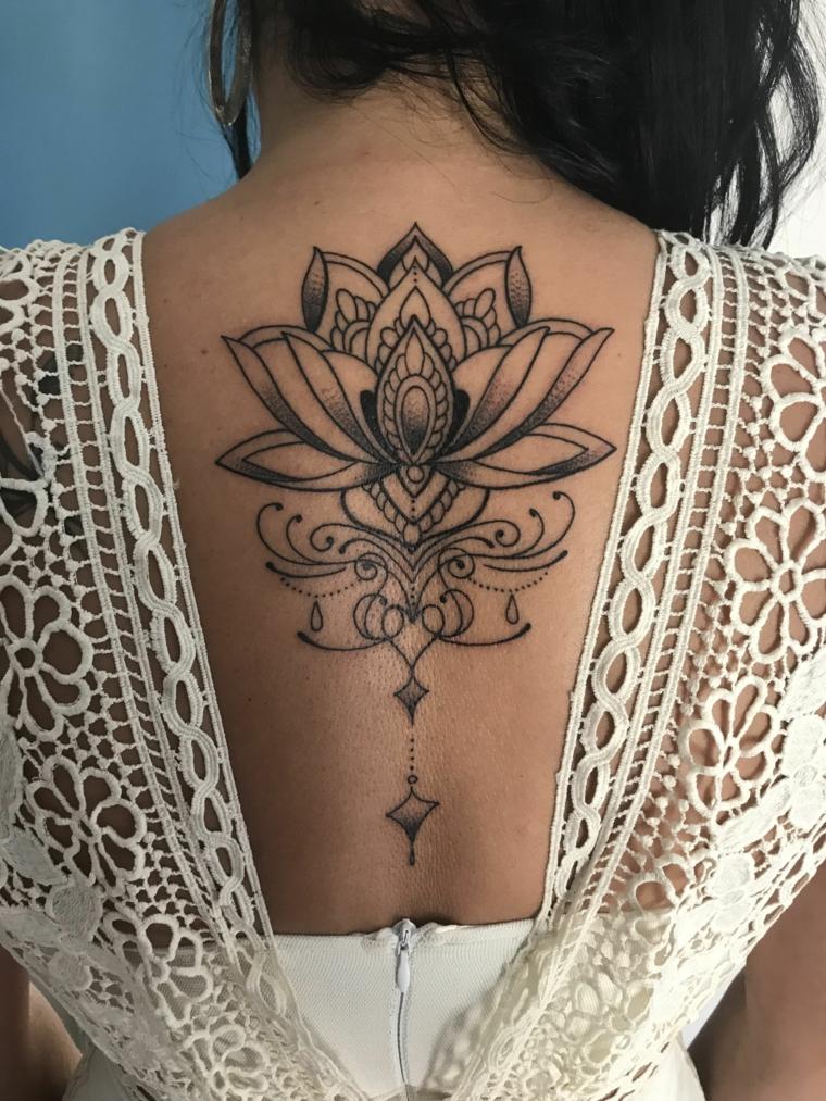 Tatuaggio schiena donna, tattoo mandala fiore di loto, donna con un tattoo di un fiore di loto