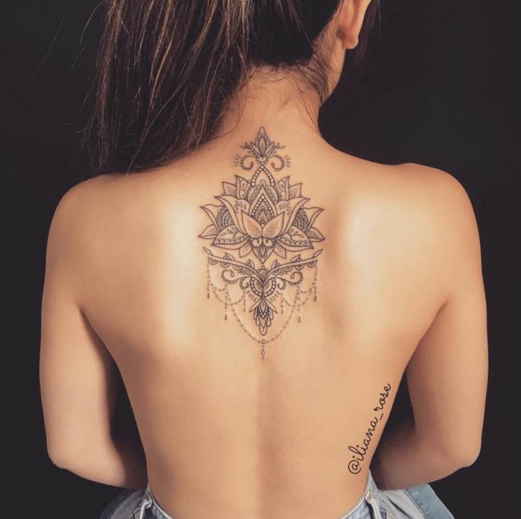 Tatuaggio schiena donna, simboli tatuaggio mandala, tattoo con un fiore di loto e ornamenti