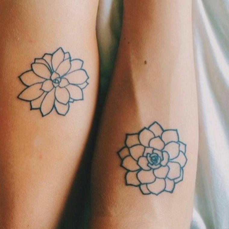 Tattoo fiore di loto, tatuaggi di coppia sull'avambraccio, disegno di un fiore di loto