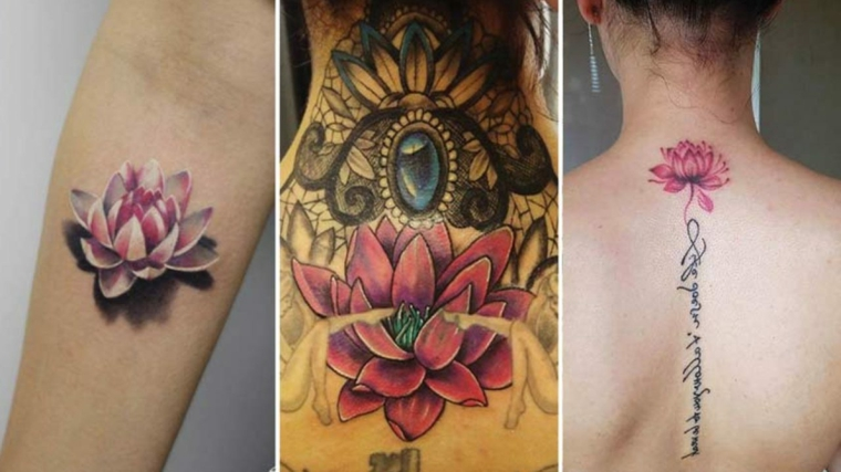 Collage di foto, tre donne con tattoo di fiori di loto, simboli di rinascita e forza