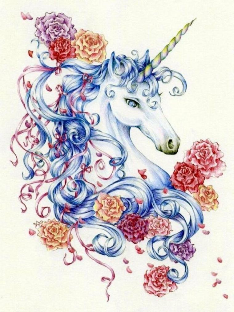 Schizzo di un unicorno, disegno realizzato con i pastelli, schizzo di un unicorno con criniera colore blu