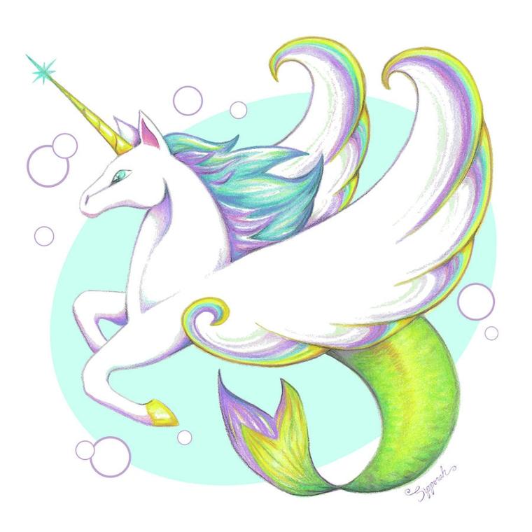 Disegno di un unicorno alato sirena, come si disegna un unicorno, disegno di un unicorno