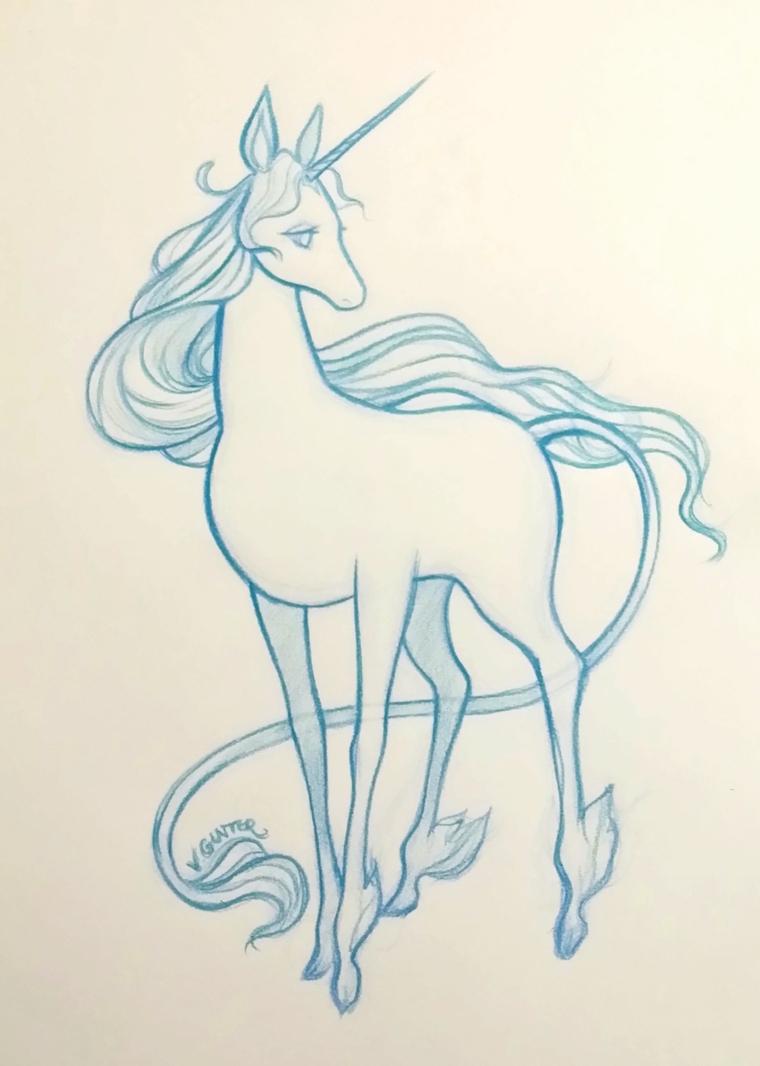 Schizzo di un cavallo disegnato con matita colore blu, disegno di una criniera a matita