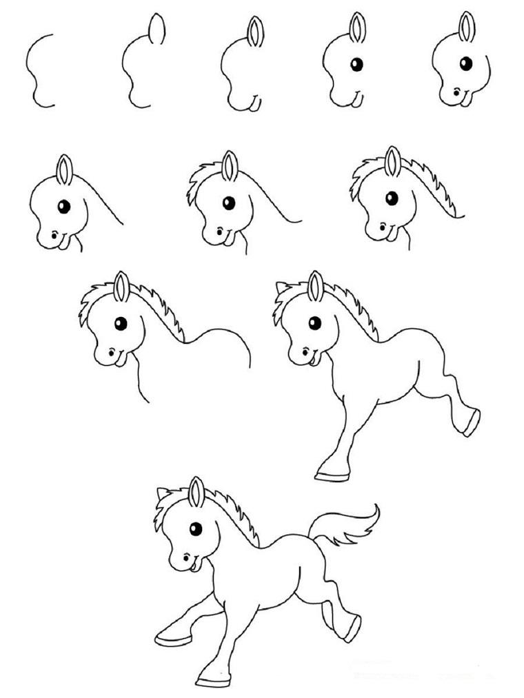Tutorial per disegnare un cavallo, passaggi per disegnare un unicorno, schizzo di un animale