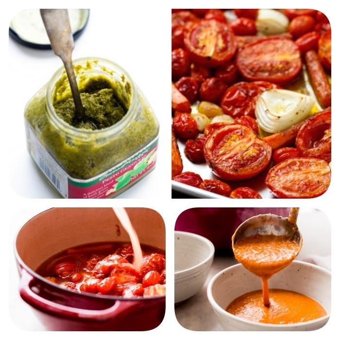 Vellutate light, frullare le foglie di basilico, pomodorini cotti al forno in teglia