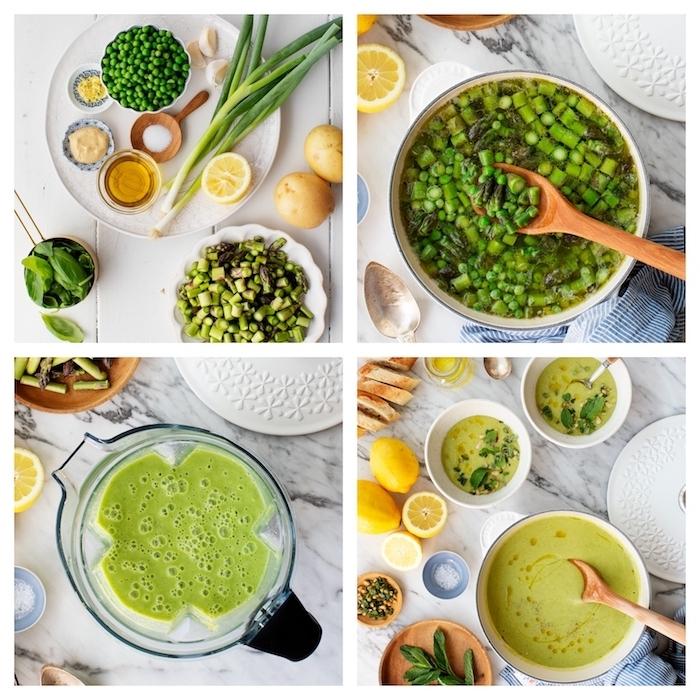 Frullare la minestra nel frullatore, pentola con verdure miste, zuppe autunnali