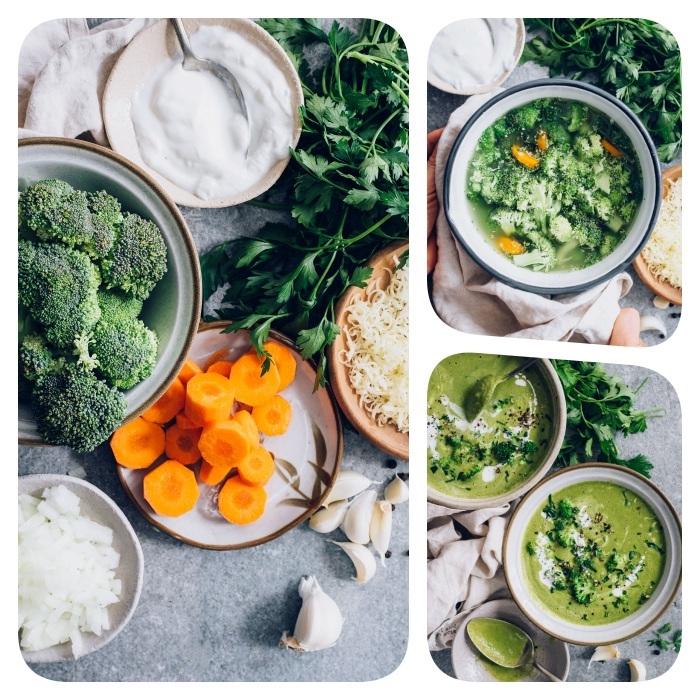 Vellutata di verdure miste, minestra di broccoli e carote, ingredienti in ciotole di metallo