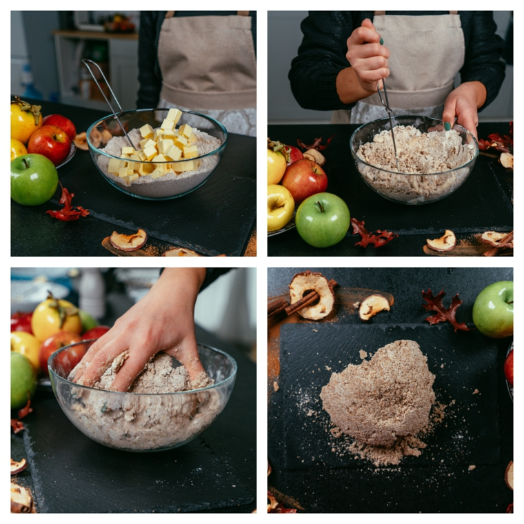 Crostata di mele, tutorial con farina integrale e burro, impasto per crostata