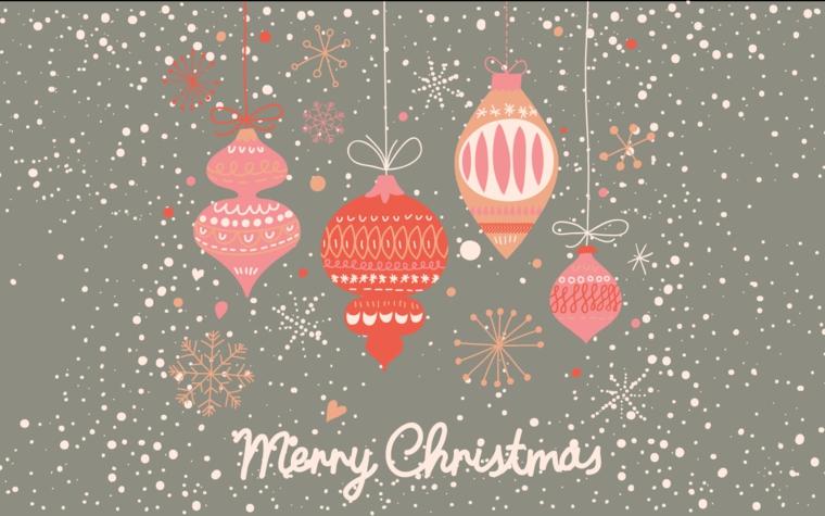 Immagine wallpaper desktop, immagine disegno ornamenti natalizi, scritta in inglese