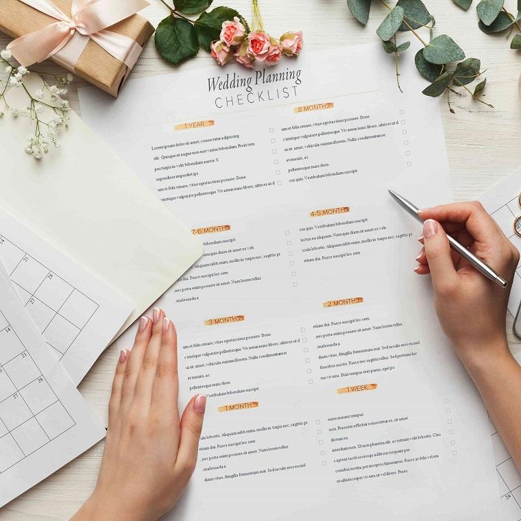 Organizzare un matrimonio passo per passo, checklist da seguire, fogli e penna di metallo