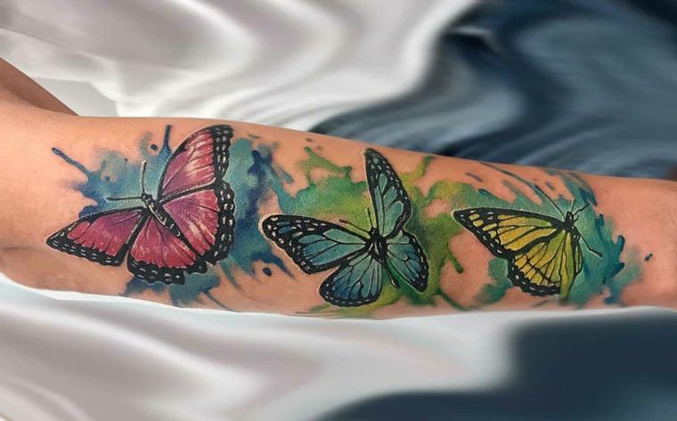 Immagini di farfalle in volo, disegno colorato di farfalle, tattoo avambraccio donna