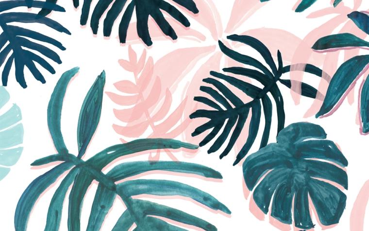 Disegni di foglie tropicali, disegno di foglie verdi, immagine per il desktop del computer